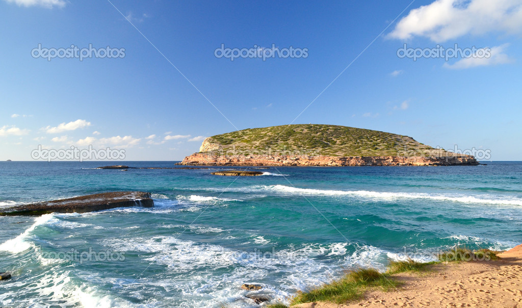 View of Cala Comte Beach in Ibiza