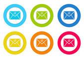 Zaoblené ikony symbolem e-mailu
