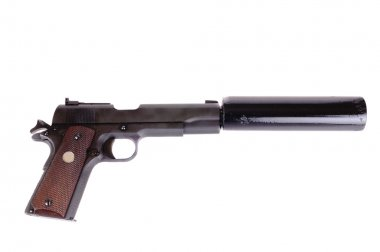 45 ACP with a silencer attached