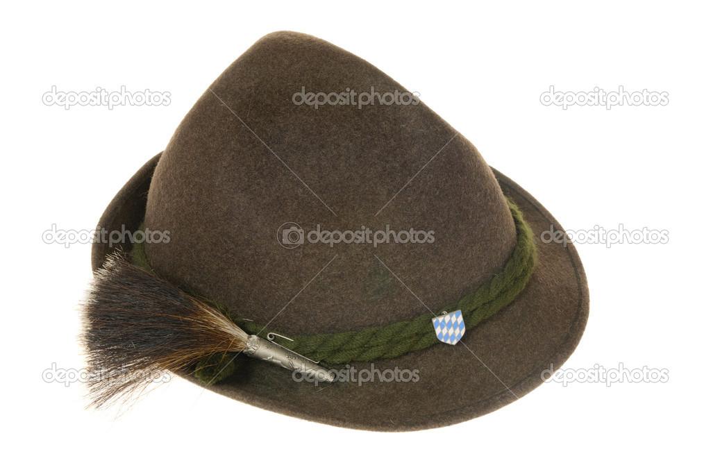 Cappello bavarese isolato su sfondo bianco closeup — Foto di ... dd411a83c059