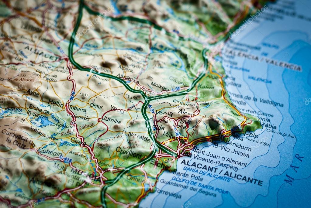 Road map of Costa Blanca Alicante Spain Stock Photo pifate