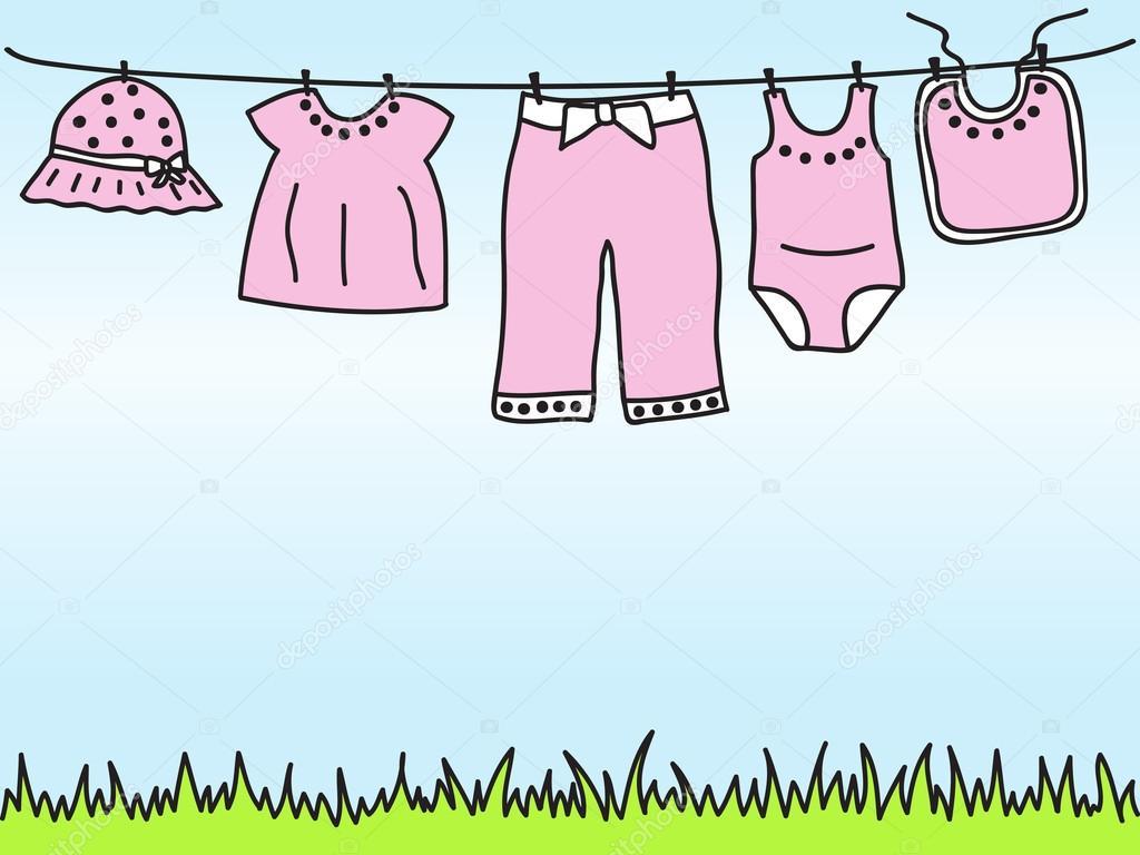 Kinderkleidung auf wäscheleine  Babykleidung auf der Wäscheleine — Stockvektor #12103502
