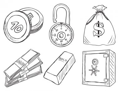 Illustration of money and safe