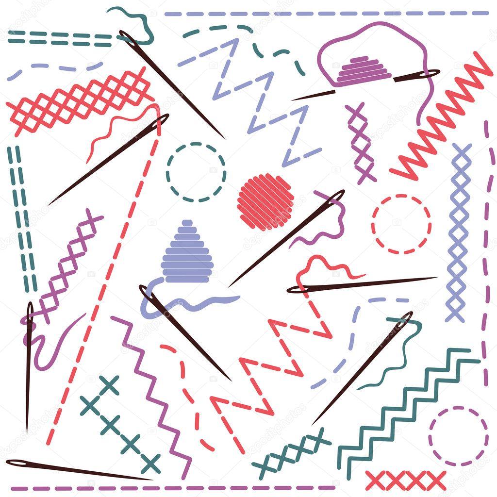 Illustration der Nähtechnik — Stockvektor © kytalpa #13882314