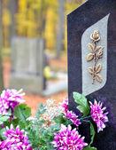 Fotografie Grabstein mit golden rose und lila Blüten