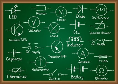 Electrical circuit symbols on chalkboard