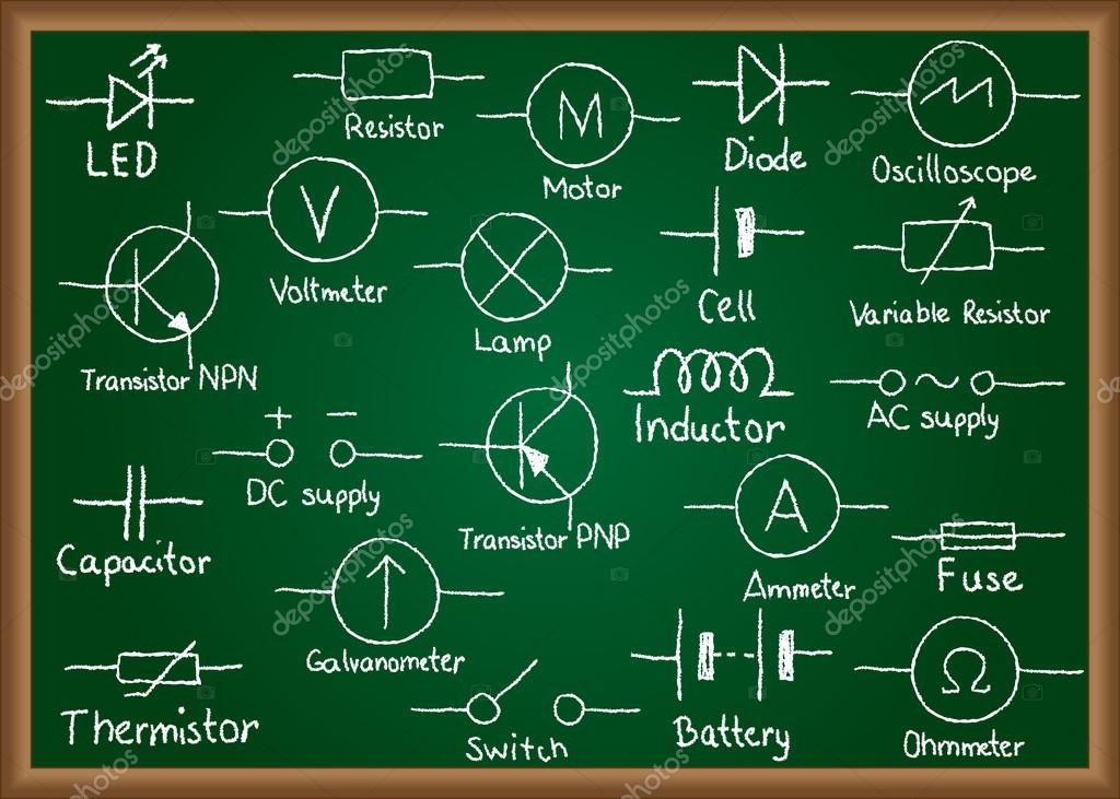Electrical circuit symbols on chalkboard — Stock Vector © kytalpa ...