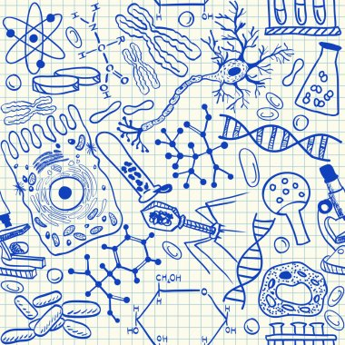 Biology doodles seamless pattern