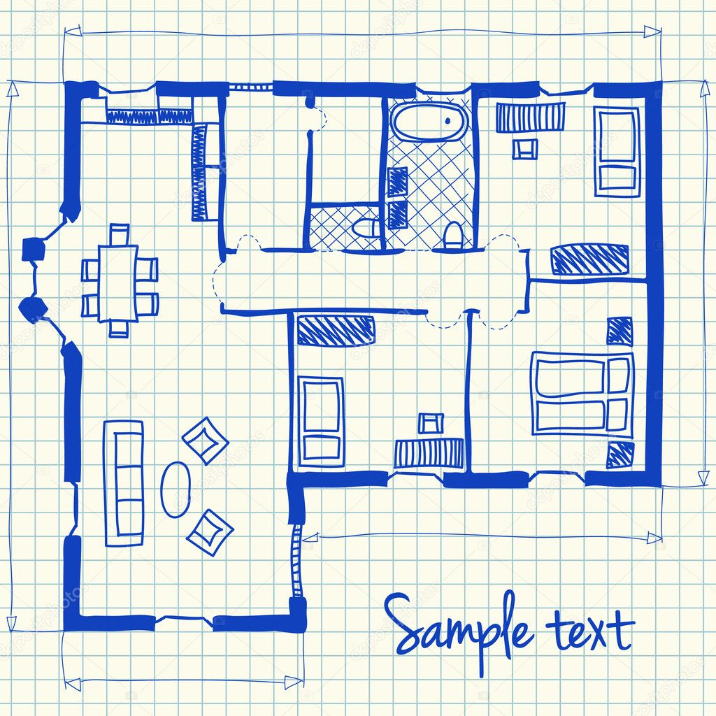 Haus plan doodle stockvektor kytalpa 25925743 for Haus plan