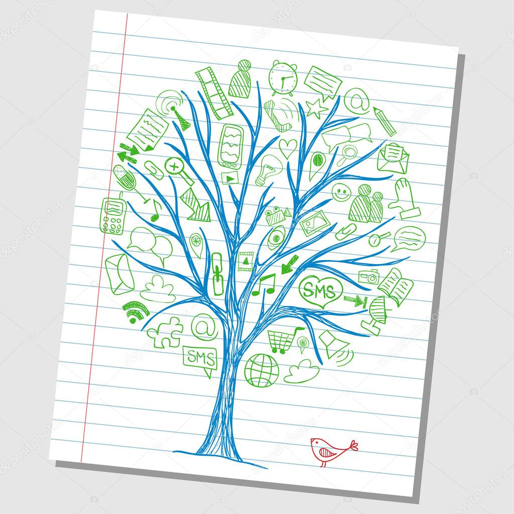 Social media doodle icons on tree