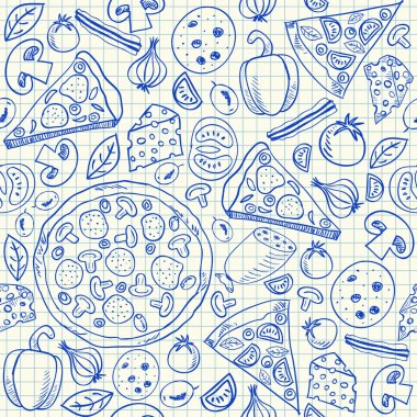 Pizza doodles seamless pattern