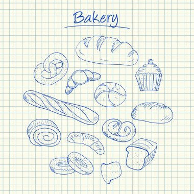 Bakery doodles - squared paper