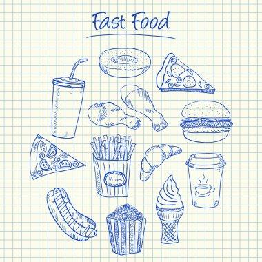 Fast food doodles - squared paper
