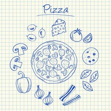Pizza doodles - squared paper