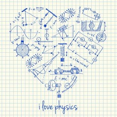 Physics drawings in heart shape