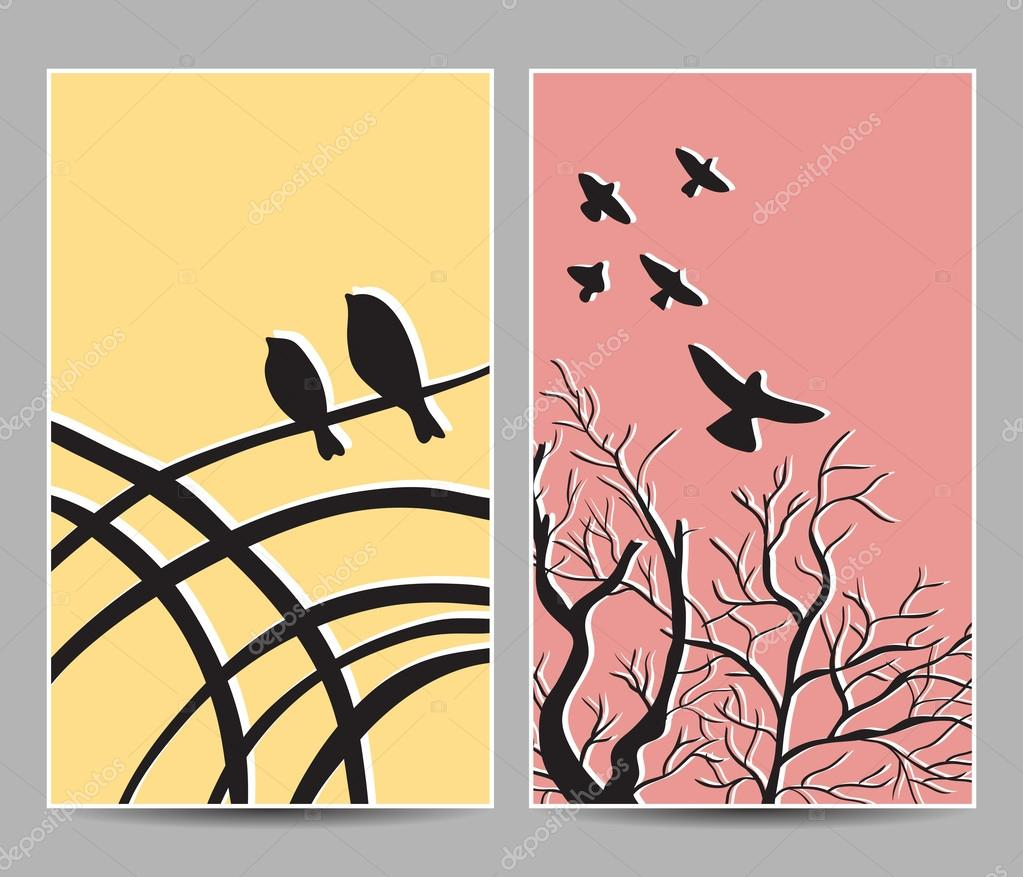 Birds on trees cards