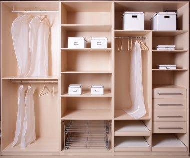 Nice interior of wooden wardrobe