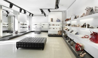 luxury shoe store with bright interior