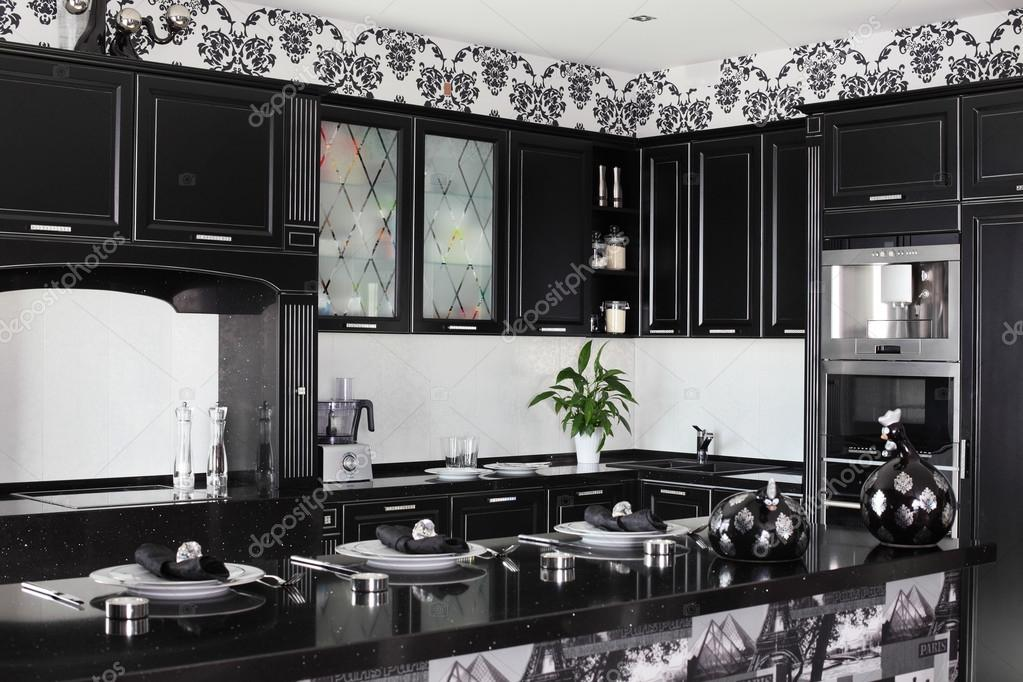 Black And White Modern Kitchen With Stylish Furniture Stock Photo
