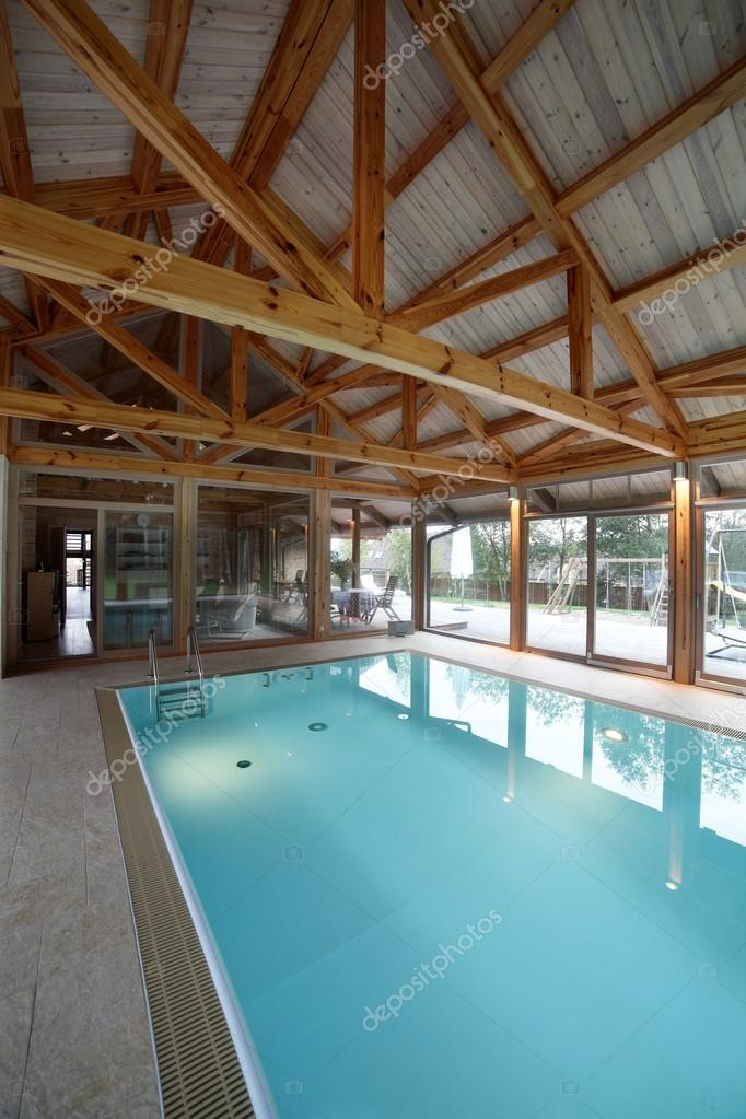 Interior Of Swimming Pool Inside House Stock Photo