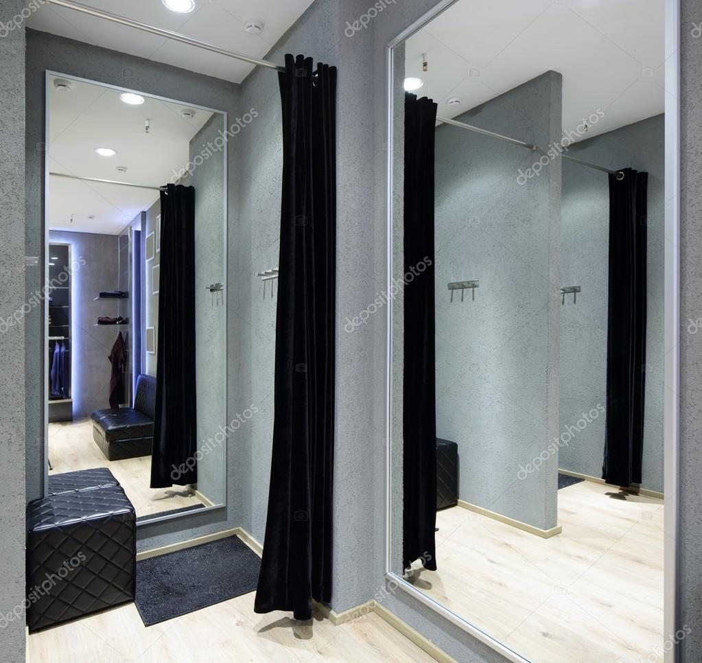 Interior Of Dressing Room At Cloth Store Stock Photo