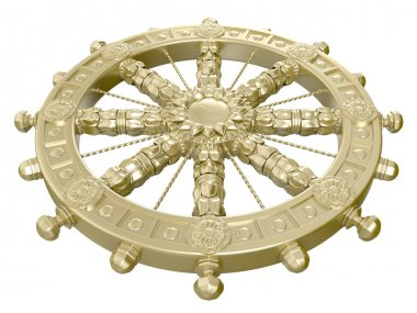 Dharmacakra or the Wheel of the Life. 3D isolated stock vector