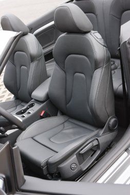 Convertible sportscar black leather seats
