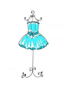 Blue dress on a hanger