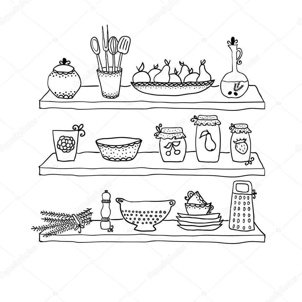 kitchen utensils drawing. kitchen utensils on shelves sketch drawing u2014 stock vector 51347161