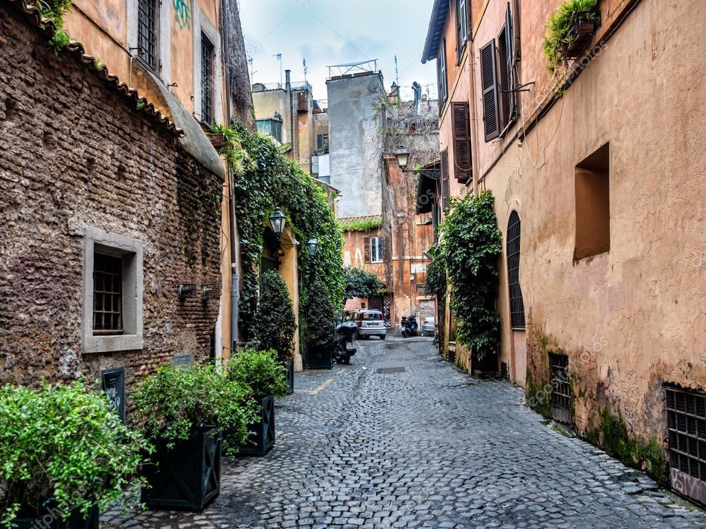 sc ne de rue du quartier de trastevere de rome italie. Black Bedroom Furniture Sets. Home Design Ideas