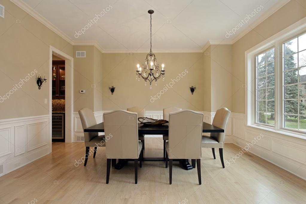 Dining room with candle sconces — Stock Photo © lmphot #35793631