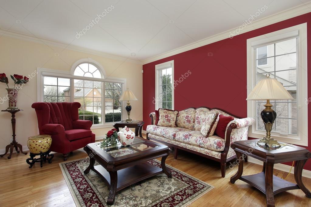 woonkamer met rode en crème gekleurde muren — Stockfoto © lmphot ...