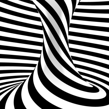 Black and white background. Abstract striped object.