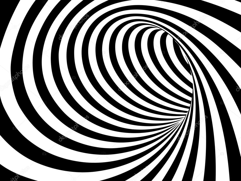 Black and white abstract vector tunnel
