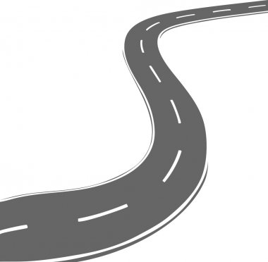 Vector curved road. Simple line style