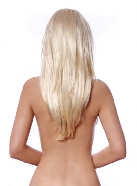 blonde hair, back side of young woman with straight blonde hair isolated on white, hair care
