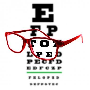 Eye vision test chart seen through eye glasses, white background isolated.