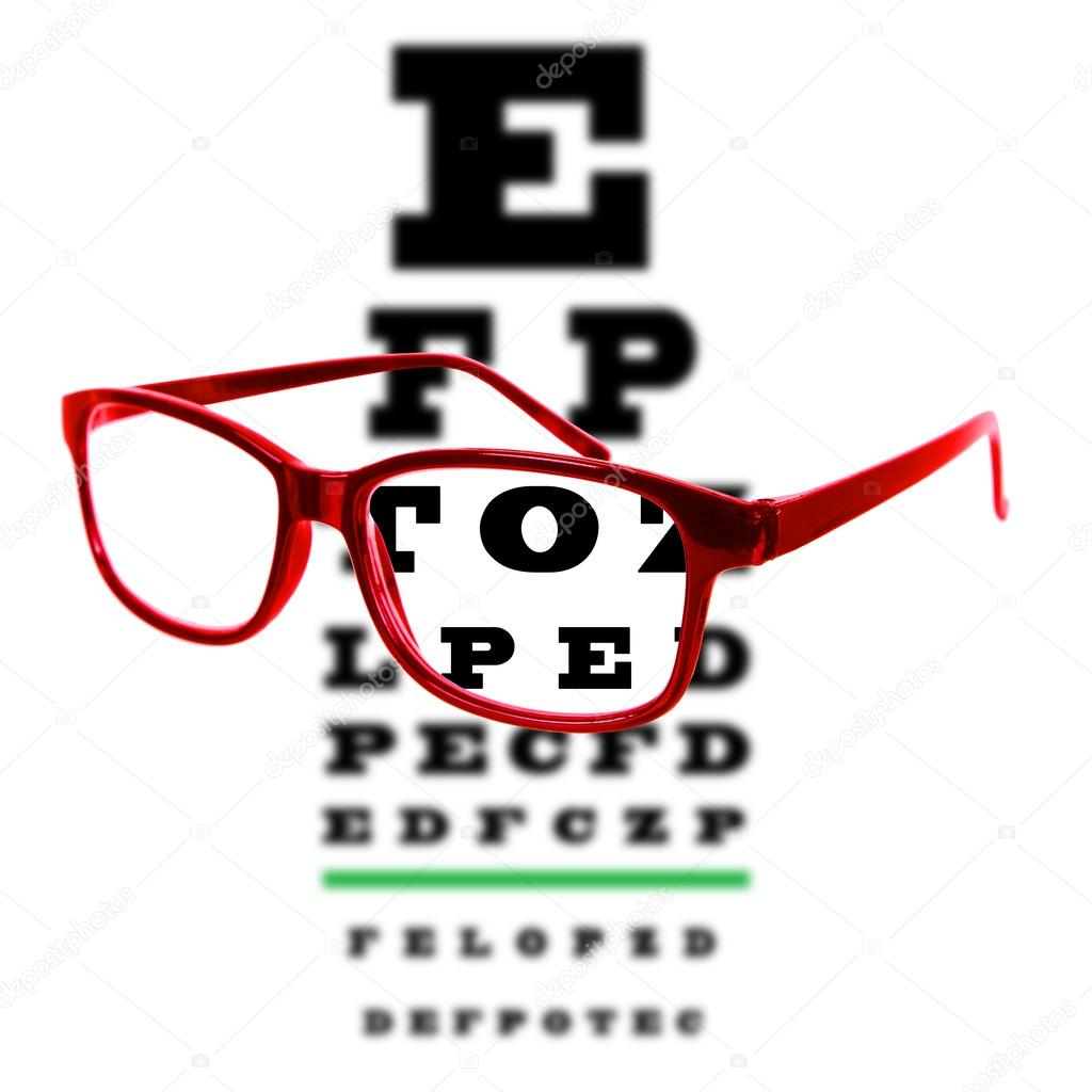 Eye vision test chart seen through eye glasses white background eye vision test chart seen through eye glasses white background isolated stock photo geenschuldenfo Image collections