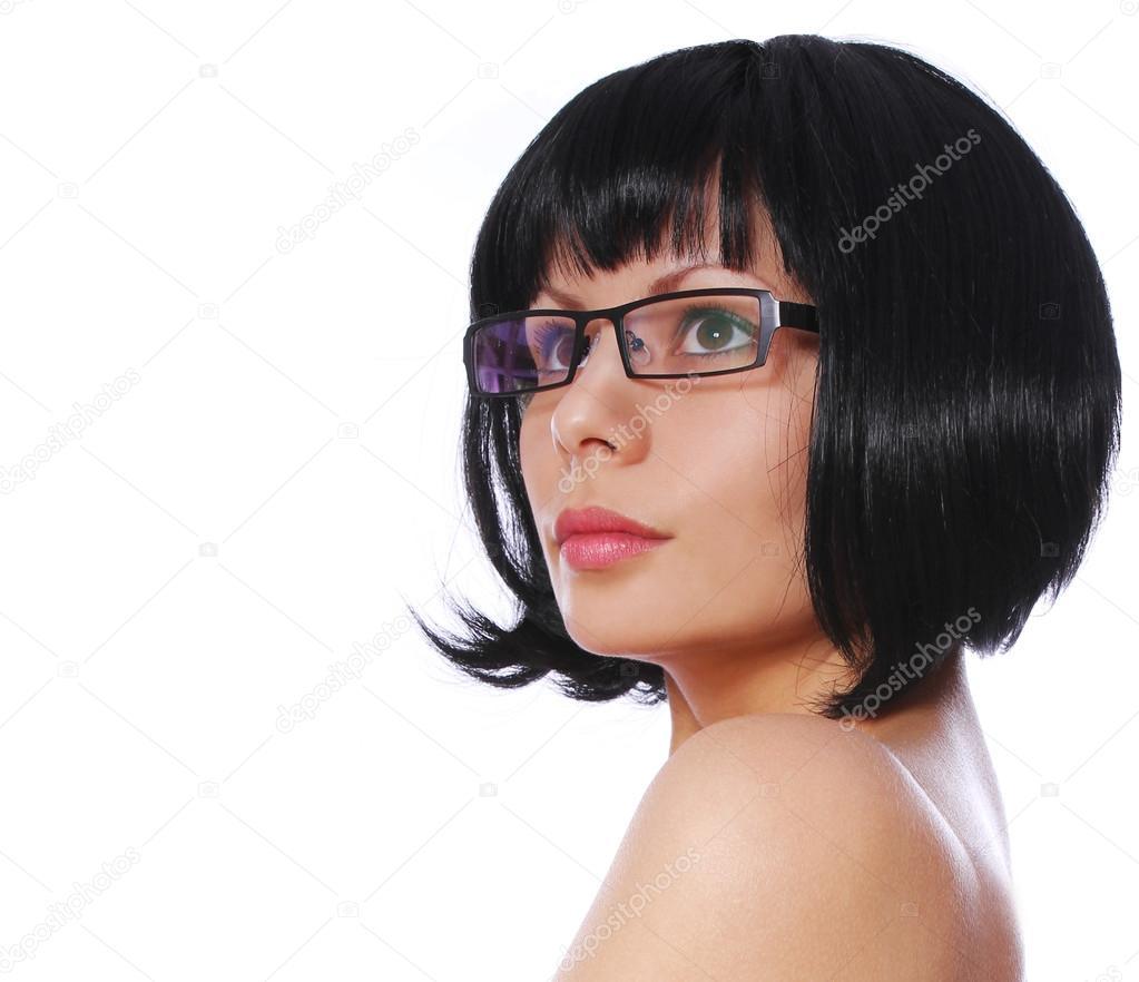 Brünette Mit Sexy Brillen Und Stilvolle Kurze Bob Frisur Isoliert