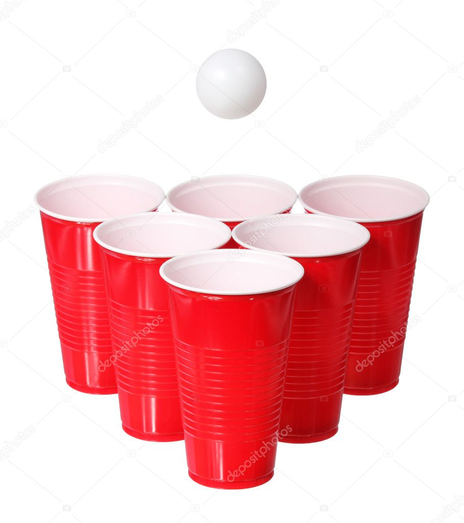 Beer pong. Red plastic cups and ping pong ball isolated on white background