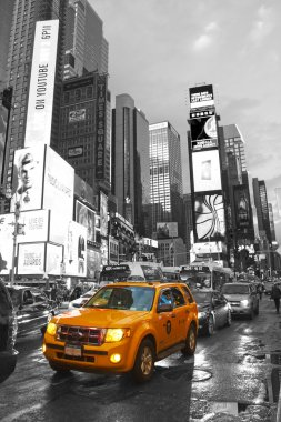Times Square with yellow cab, Manhattan, New York City. Black a