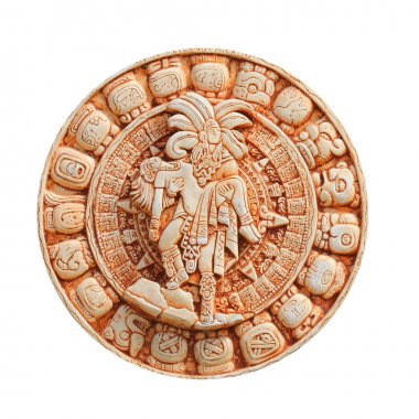 Mayan calendar on clay plate, isolated on white. Glyphs
