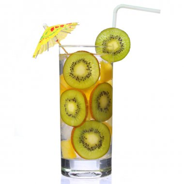 Fruit cocktail with slices of kiwi and pineapple