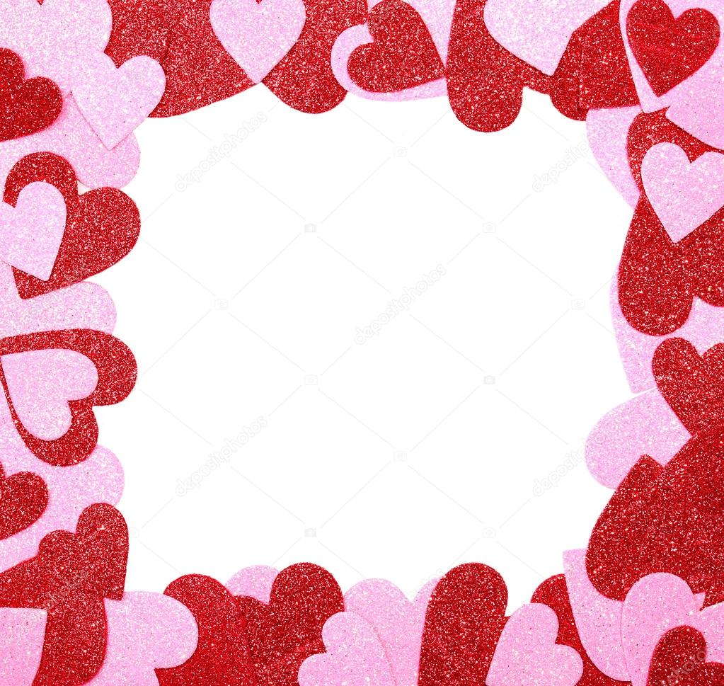 Valentines Day Frame Red And Pink Glitter Hearts Isolated Stock