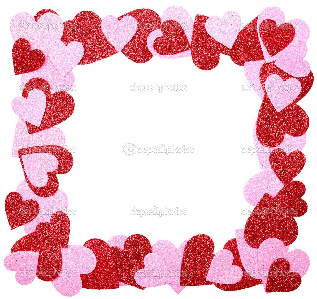 marco de día de San Valentín. corazones de color rosa y rojo brillo ...