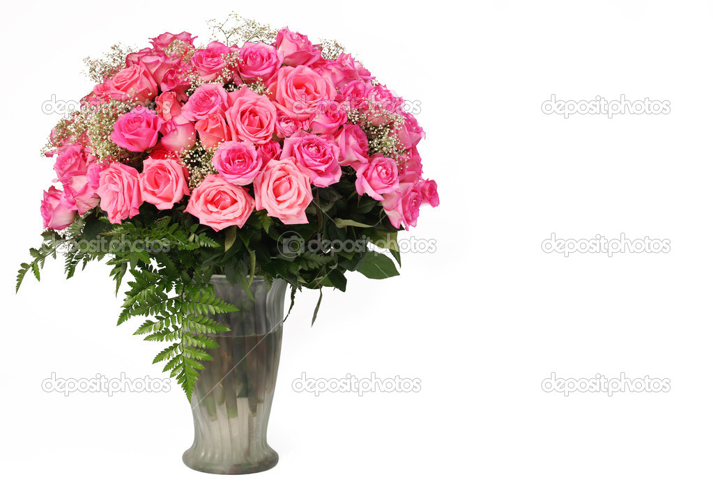 Pink Roses. Huge Bouquet in Glass Vase isolated on white