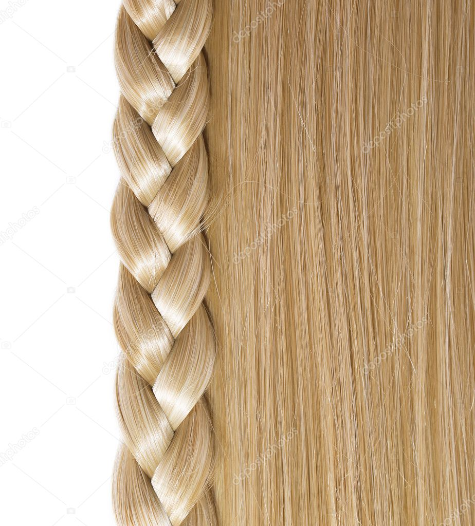 Blonde Straight Hair and Braid or Plait isolated on white. Hair