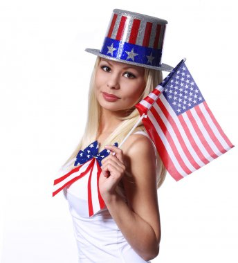Blonde Girl waving Small American Flag isolated on white