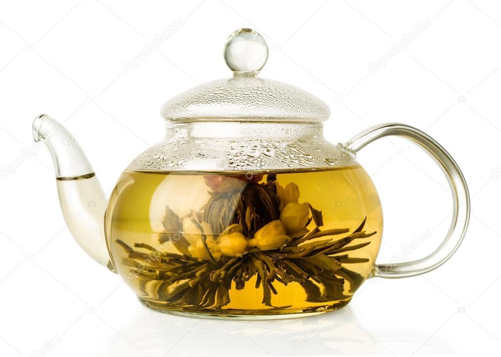 Glas Teekanne blühende grüntee in glas teekanne stockfoto viktoriya89 42967091