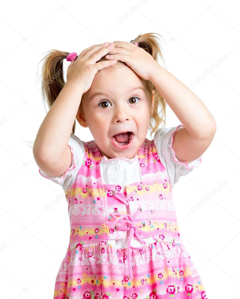 Little girl kid surprised with hands on her head isolated on whi
